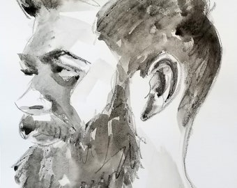 Beardo in Profile, 11x14 inches crayon and watercolor on Rives BFK, by Kenney Mencher