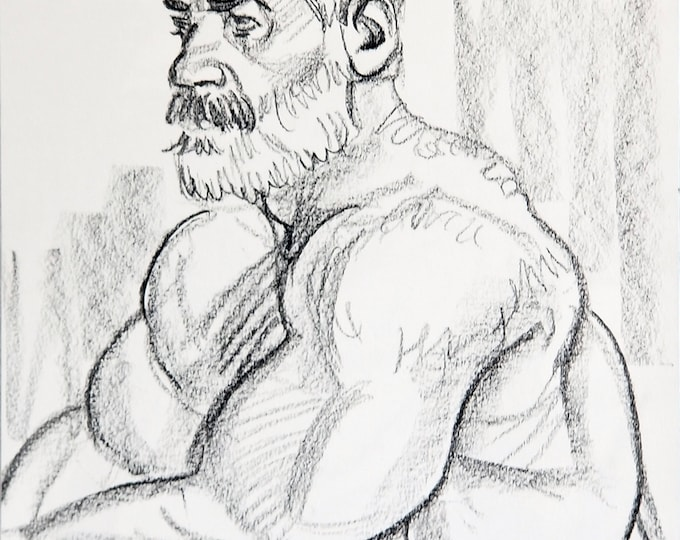 Grayhunk, 9x12 inches, crayon on paper, by Kenney Mencher