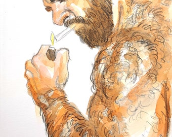 Hairy Smoker, 9x12 inches crayon and watercolor on cotton paper by Kenney Mencher