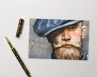 Postcard, Flat Cap, Handlebar Mustache and a Beard, by Kenney Mencher