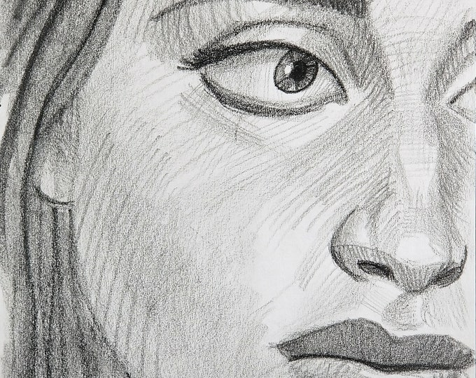 Beautiful Woman with a Distinctive Nose, crayon on paper, 9x12 inches by Kenney Mencher