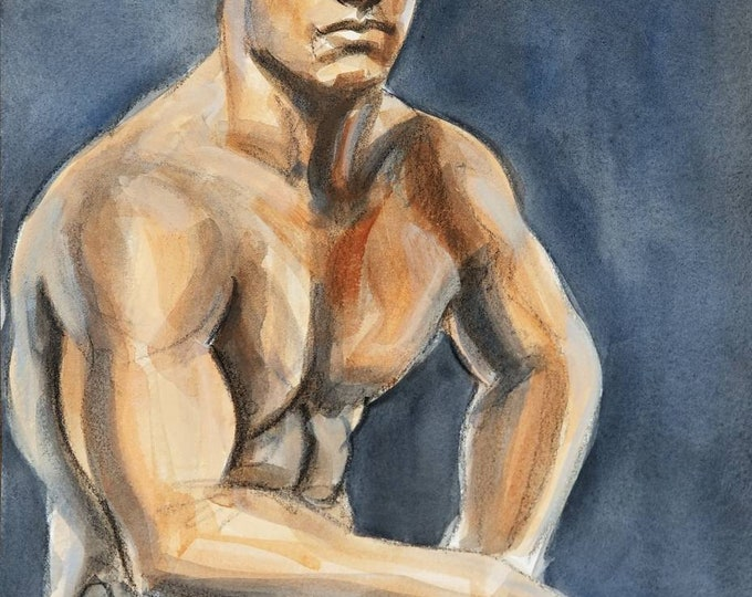 Young Man with Buzz Cut and Muscles, 11x14 inches acrylic wash on Rives BFK paper by Kenney Mencher