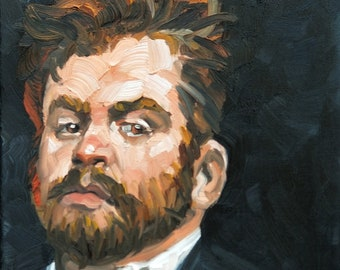 Poofy Haired Red Head with a Beard and Menacing Attitude, oil on gallery stretched canvas, 9x12 inches by Kenney Mencher