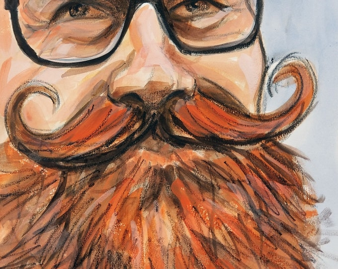 Red Beard Dandy with a Handlebar Mustache and Spectacles, watercolor and crayon on Rives BFK 11x14 inches by Kenney Mencher