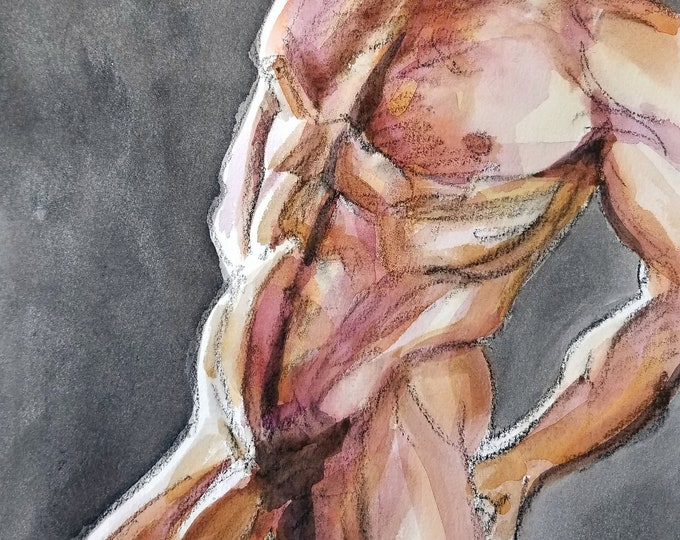 Large Male Bather, watercolor on cotton paper 11x14 inches by KennEy Mencher