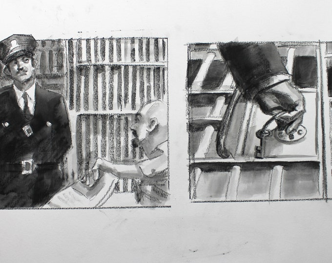 Prison Scene, Two Panels from Page 3 on a Single Sheet of Paper, 22x15 inches watercolor on Rives BFK paper by Kenney Mencher