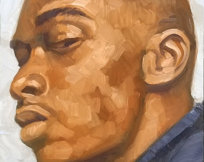 Skeptical Young Man, oil on canvas panel, 9x12 inches by Kenney Mencher