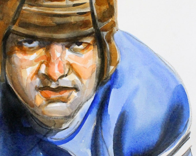 Football Hero, 11x14 inches watercolor on cotton paper, by Kenney Mencher