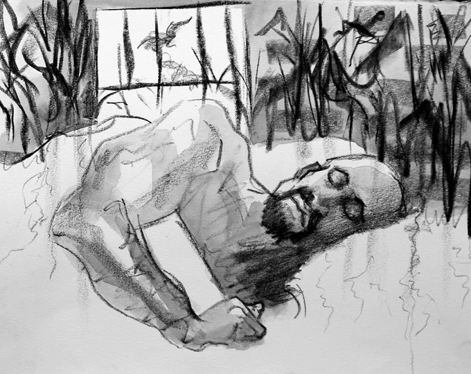 Sleeping Man against a montage of a Cornfield, Single Panel from Page 12, 11x14inches watercolor on Rives BFK paper by Kenney Mencher