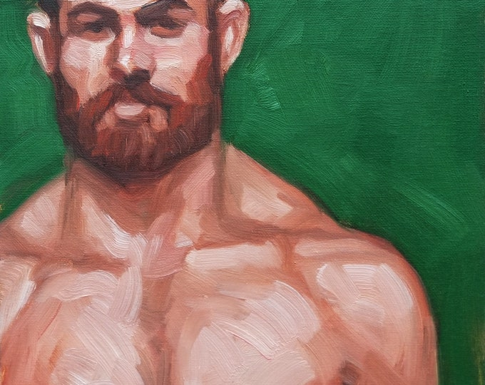 Pale Skinned Bare Chested Bearded Ginger in a Military Cap,  oil on canvas panel, 11x14 inches by Kenney Mencher
