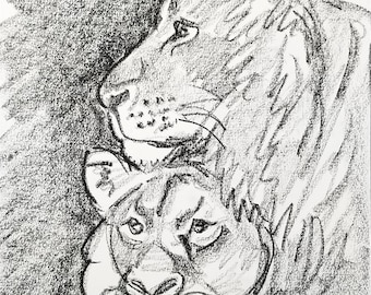 Lions in Love, 9x12 inches crayon on paper by Kenney Mencher
