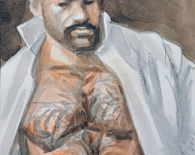 Bear in an Open White Shirt,  9x12 inches crayon and watercolor on Rives BFK paper by Kenney Mencher