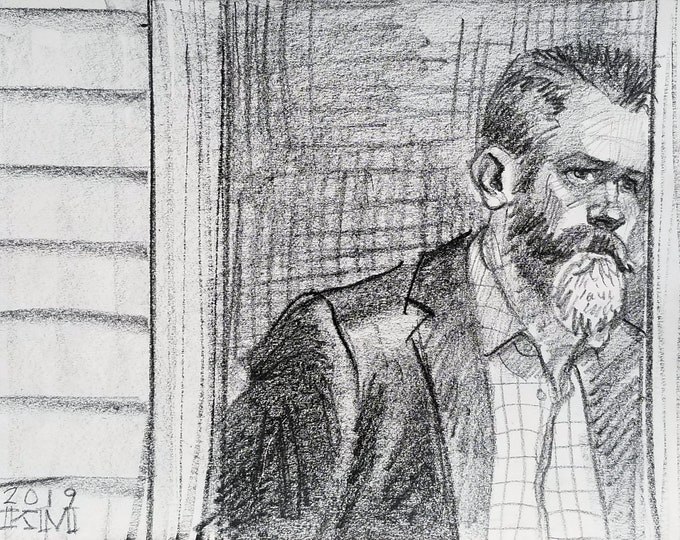 Bearded Memento, lithograph crayon on archival sketchbook paper, 9x12 inches by Kenney Mencher