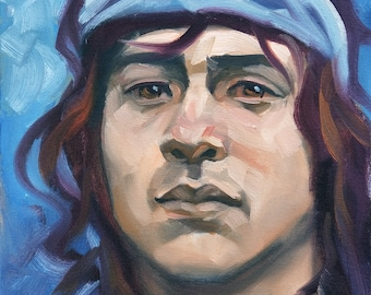Boho, Gypsy, Deadhead kinda Twink, 11x14 inches oil paint on canvas panel by Kenney Mencher