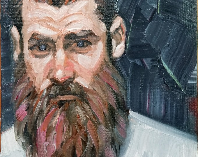 Beardo with Light Eyes, 9x12 inches oil on canvas panel by Kenney Mencher