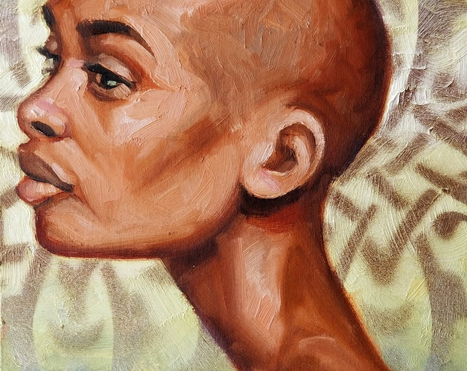 Strong and Beautiful Black Woman, oil on canvas panel 14x11 inches by Kenney Mencher