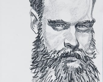 B Giles,  9x12 inches crayon on paper by Kenney Mencher