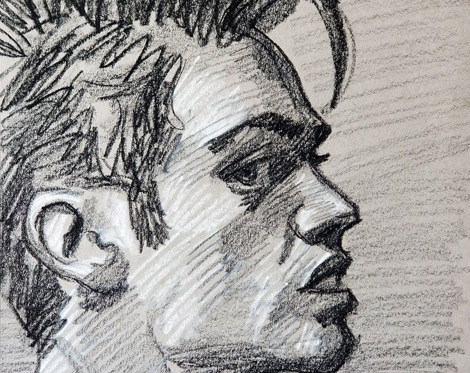 Suspicious Twinkster with Good Hair, 12x9 inches, crayon gray paper by Kenney Mencher