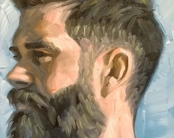 Fade and a Beard in Profile, oil on canvas panel 11x14 inches by Kenney Mencher