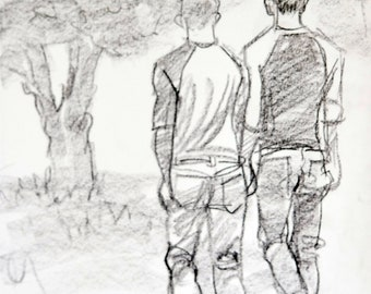 New Found Love, crayon on sketchbook paper 11x14 inches by Kenney Mencher