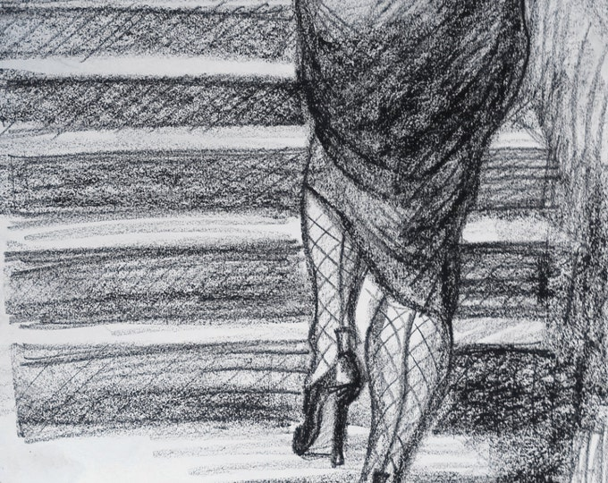 "Caboose in Fishnets, original drawing in black litho crayon, 8.5""x11"" on paper by Kenney Mencher"