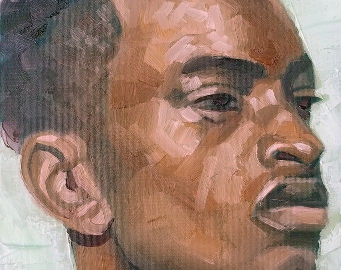 Handsome 20ish Black Man in Three Quarter View, oil on canvas panel, 9x12 inches by Kenney Mencher