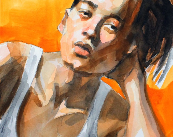 Beautiful Non-Binary Teen, 11x14 inches watercolor on cotton paper, by Kenney Mencher