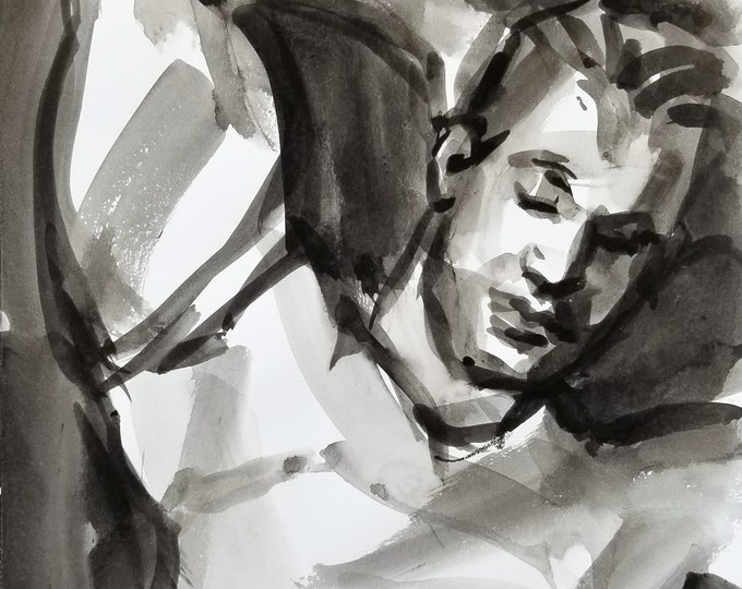 Reclining Young Man in a T Shirt,  watercolor on paper 9x12 inches by Kenney Mencher