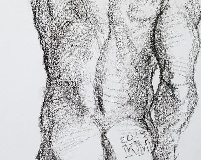 Cheeky Twink, crayon on paper 9x12 inches by Kenney Mencher