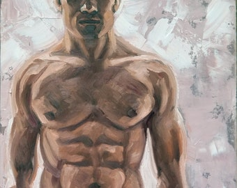 Backlit Hunky Young Man with an Extraordinary Torso, 16x20 iches oil on canvas panel by Kenney Mencher