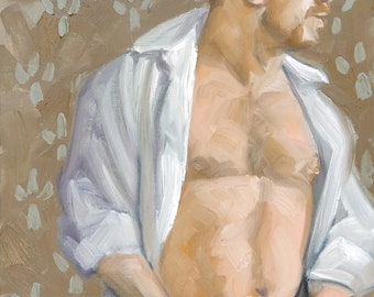 Taking My Pants Off, oil on canvas panel 11x14 inches by Kenney Mencher