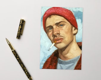 Postcard, Young Hottie in a Beanie Smoking a Cigarette, by Kenney Mencher