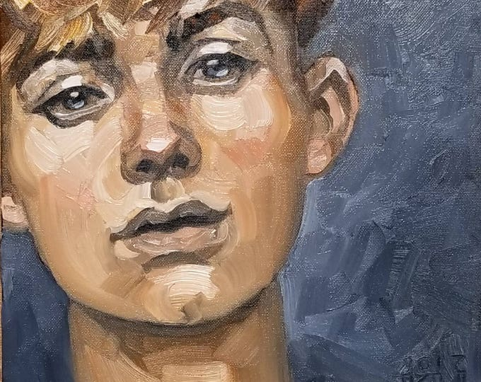 How to Survive a Summer, (portrait of a young adult gender fluid person) oil on canvas panel, 11x14 inches, by Kenney Mencher