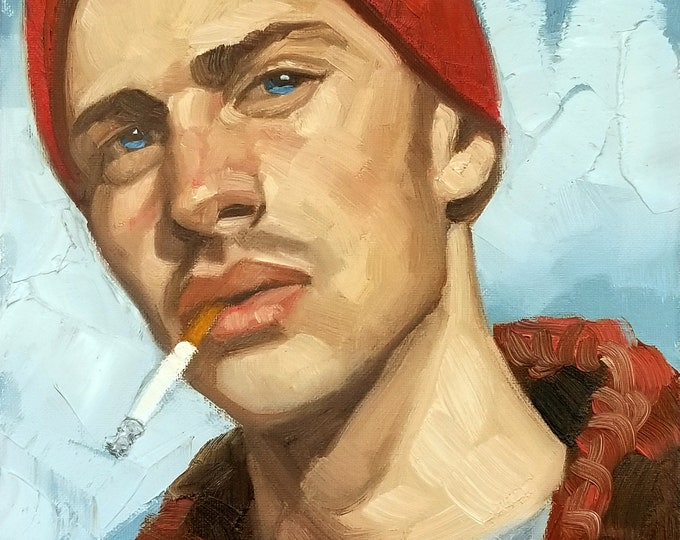 Poster Print, Young Hottie in a Beanie Smoking a Cigarette, by Kenney Mencher