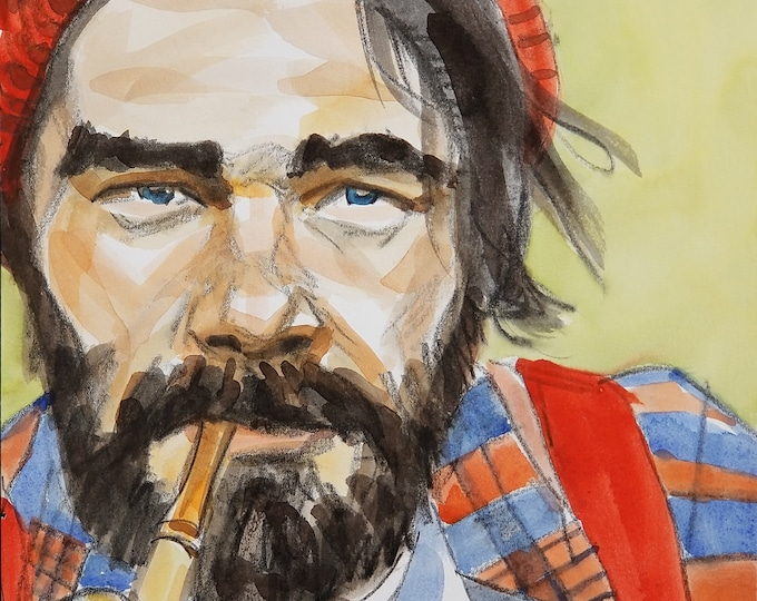Lumbersexual, crayon and watercolor on Rives BFK paper, 11x14 inches by Kenney Mencher
