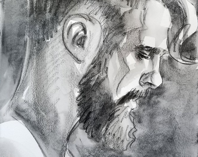 Beardo in Profile, crayon and watercolor on Rives BFK, by Kenney Mencher