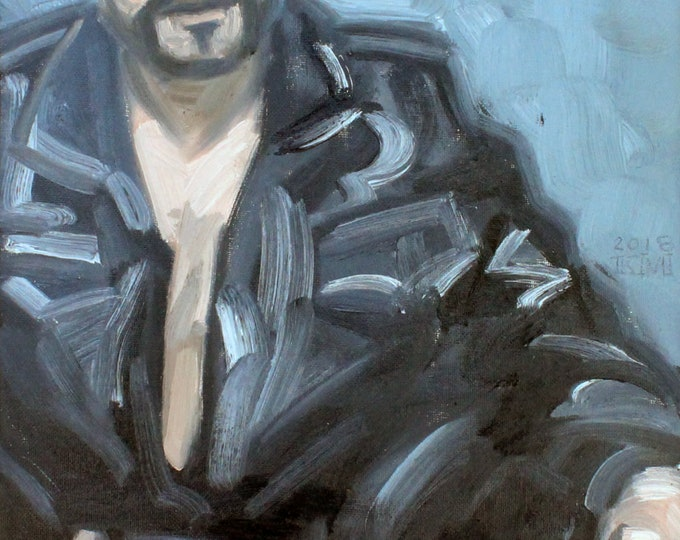 Leather G String, oil on canvas panel 8x10 inches by KennEy Mencher