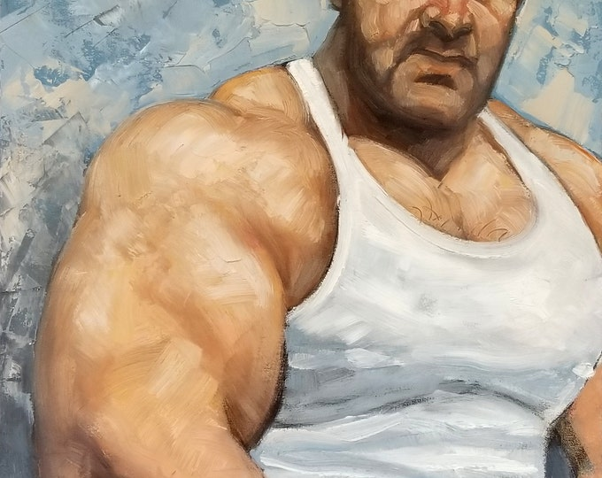 Big Armed Bear in a White Tank Top Tee Shirt, oil on canvas panel, 16x20 inches by Kenney Mencher