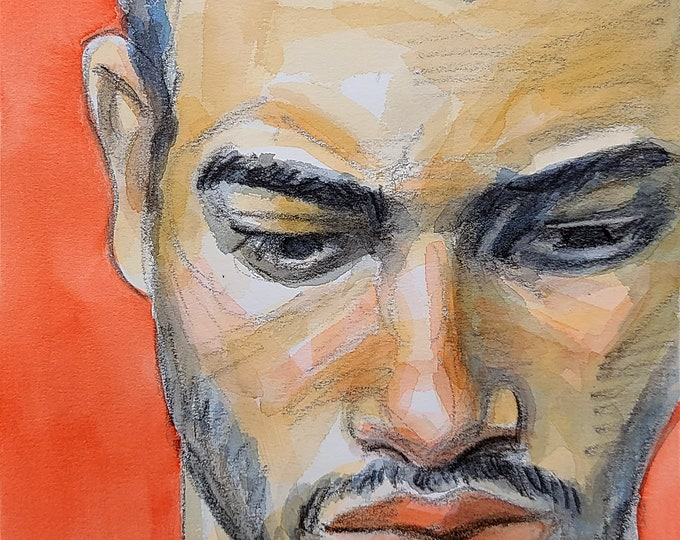 Serious Young Man, 9x12 inches crayon and watercolor on cotton paper by Kenney Mencher