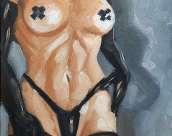 Electric Tape Criss Cross Nipples, oil on canvas panel 11x14 inches by Kenney Mencher