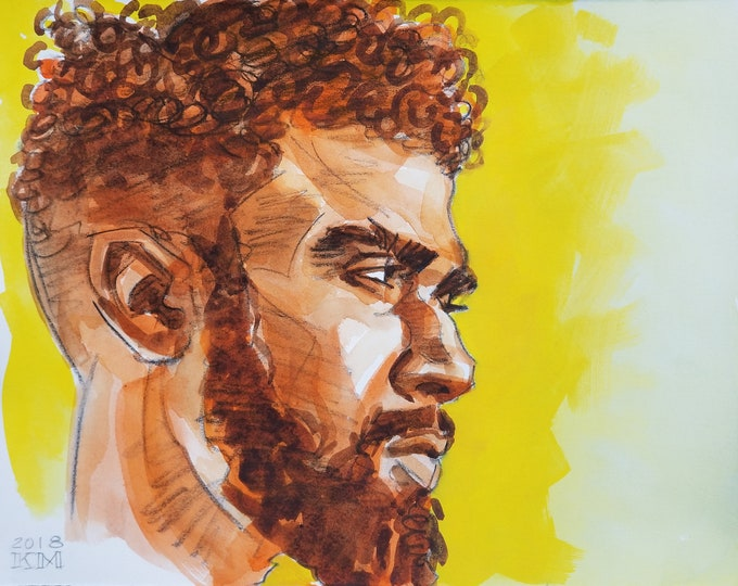 Goatee and Loose Curls, crayon and watercolor on Rives BFK paper, 11x14 inches by Kenney Mencher
