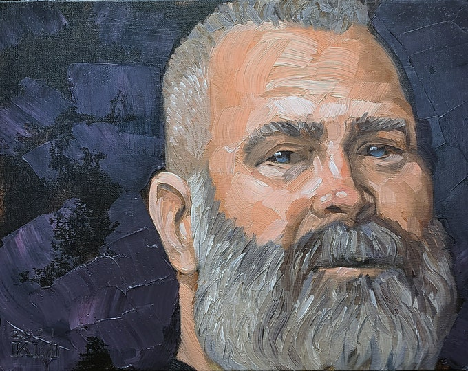 Sweet Bearded Man, 12x16 inches oil on canvas panel by Kenney Mencher in collaboration with Vincent Keith