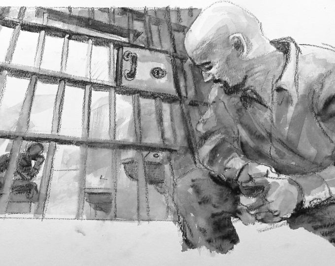 Prison Scene, Single Panel from Page 3, 22x15 inches watercolor on Rives BFK paper by Kenney Mencher