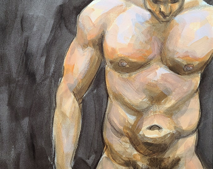 Poster Print, Powerful Large Nude, Version 1, by Kenney Mencher in collaboration with Vincent Keith