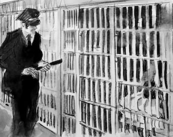 Prison Scene, Single Panel from Page 5, 22x15 inches watercolor on Rives BFK paper by Kenney Mencher
