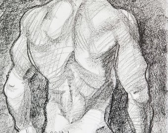 Gym Jim, crayon on sketchbook paper 11x14 inches by Kenney Mencher