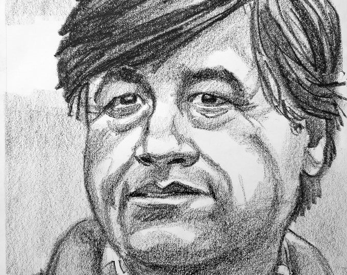 Cesar Chavez, 9x12 inches,  crayon on paper by Kenney Mencher