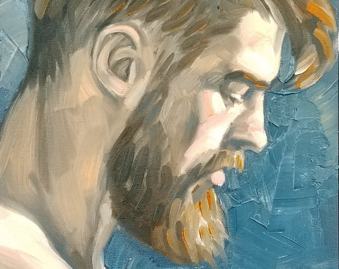 Beardo in Profile, oil on canvas panel 11x14 inches by Kenney Mencher
