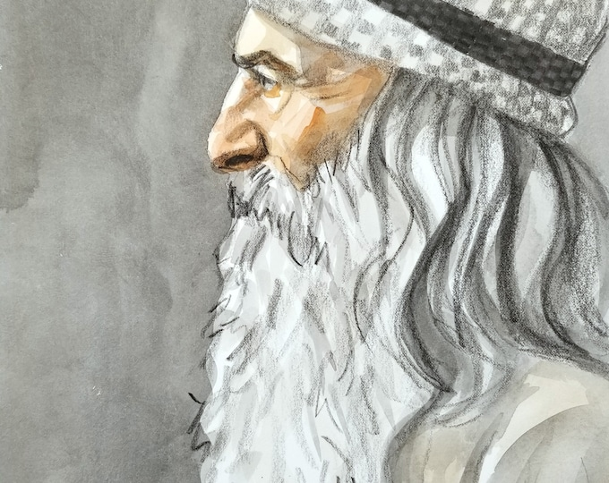 Silver Capped Mature Male, watercolor and crayon on Rives BFK, 11x14 inches, by Kenney Mencher