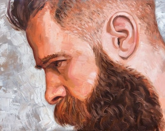 Big Fade Beardo, 36x48 inches oil on gallery wrapped stretched canvas by Kenney Mencher